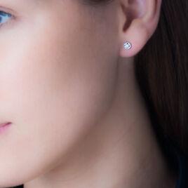 Boucles D'oreilles Puces Essentielle Or Blanc Oxyde De Zirconium - Clous d'oreilles Femme   Histoire d'Or