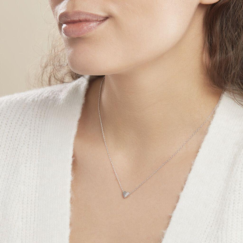 Collier Natacha Argent Blanc Oxyde De Zirconium - Colliers Coeur Femme   Histoire d'Or