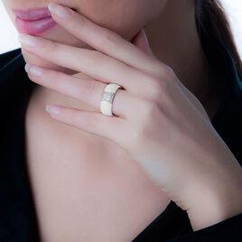 Bague Or Blanc Diamant Et Céramique - Bagues avec pierre Femme | Histoire d'Or