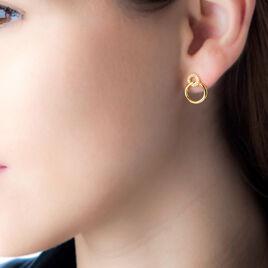 Boucles D'oreilles Pendantes Essia Plaque Or Jaune Oxyde De Zirconium - Boucles d'oreilles fantaisie Femme | Histoire d'Or
