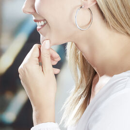 Créoles Hally Fil Large Argent Blanc - Boucles d'oreilles créoles Femme   Histoire d'Or