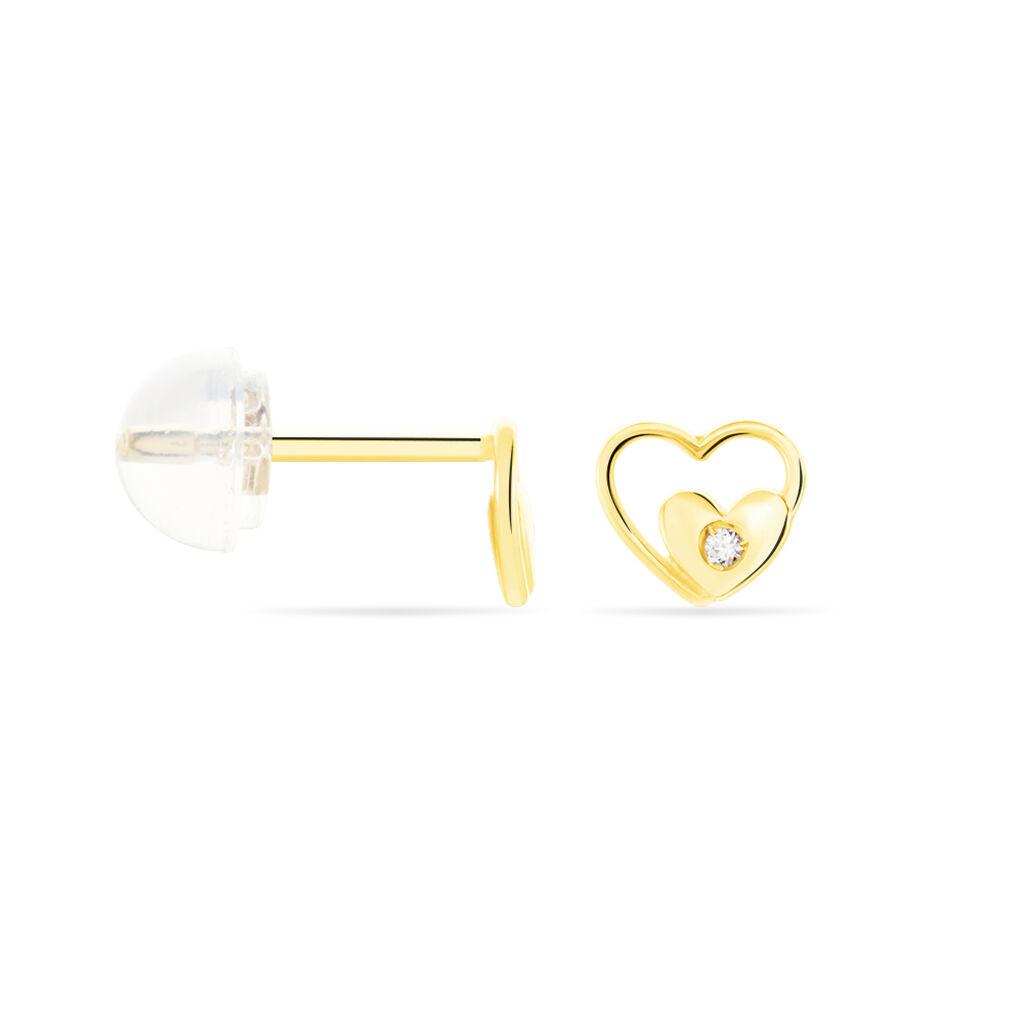 Boucles D'oreilles Puces Terentille Coeur Or Jaune Oxyde De Zirconium - Boucles d'Oreilles Coeur Enfant | Histoire d'Or