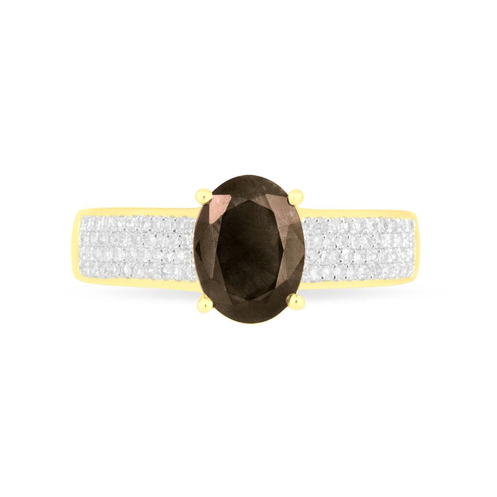 Bague Crista Or Jaune Quartz Et Diamant - Bagues avec pierre Femme | Histoire d'Or