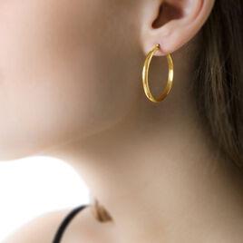 Créoles Shalana Lisses Demi Jonc Or Jaune - Boucles d'oreilles créoles Femme | Histoire d'Or