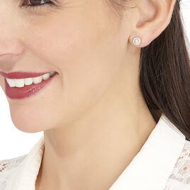 Boucles D'oreilles Puces Tahera Or Jaune Oxyde De Zirconium - Clous d'oreilles Femme | Histoire d'Or