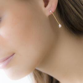 Boucles D'oreilles Pendantes Regane Or Jaune Oxyde De Zirconium - Boucles d'oreilles pendantes Femme | Histoire d'Or