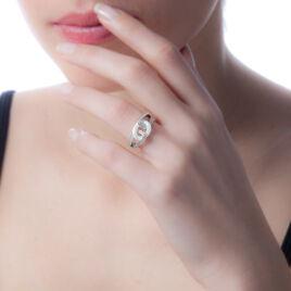 Bague Link Argent Blanc Céramique Et Oxyde De Zirconium - Bagues avec pierre Femme | Histoire d'Or