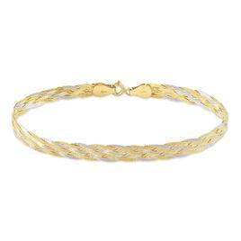 Bracelet Jen Tresse 6 Fils Or Bicolore - Bijoux Femme | Histoire d'Or