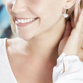 Boucles D'oreilles Pendantes Sahana Argent Blanc - Boucles d'Oreilles Plume Femme | Histoire d'Or