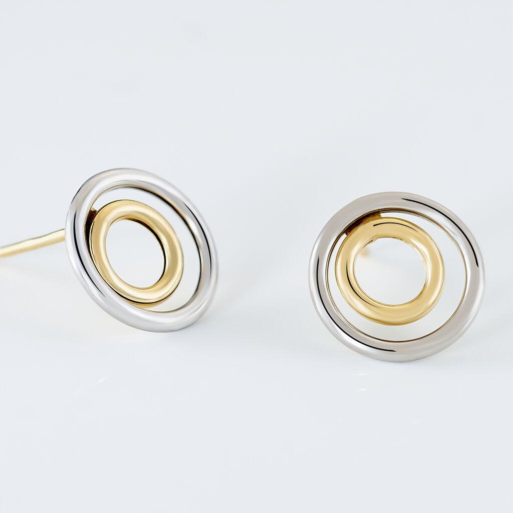 Boucles D'oreilles Pendantes Berangere Double Cercles Or Bicolore - Boucles d'oreilles pendantes Femme   Histoire d'Or