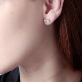 Boucles D'oreilles Puces Lovely Plaque Or Jaune Oxyde De Zirconium - Boucles d'oreilles fantaisie Femme | Histoire d'Or