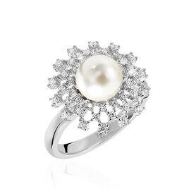 Bague Pearl Argent Blanc Oxyde De Zirconium - Bagues avec pierre Femme | Histoire d'Or
