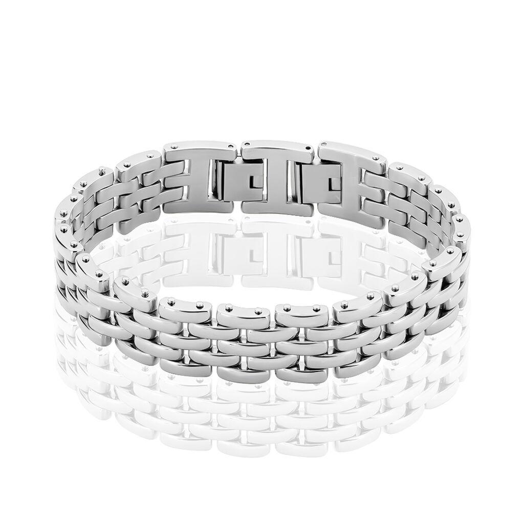 Bracelet Celicia Maille Grain De Riz Acier Blanc - Bracelets fantaisie Femme | Histoire d'Or