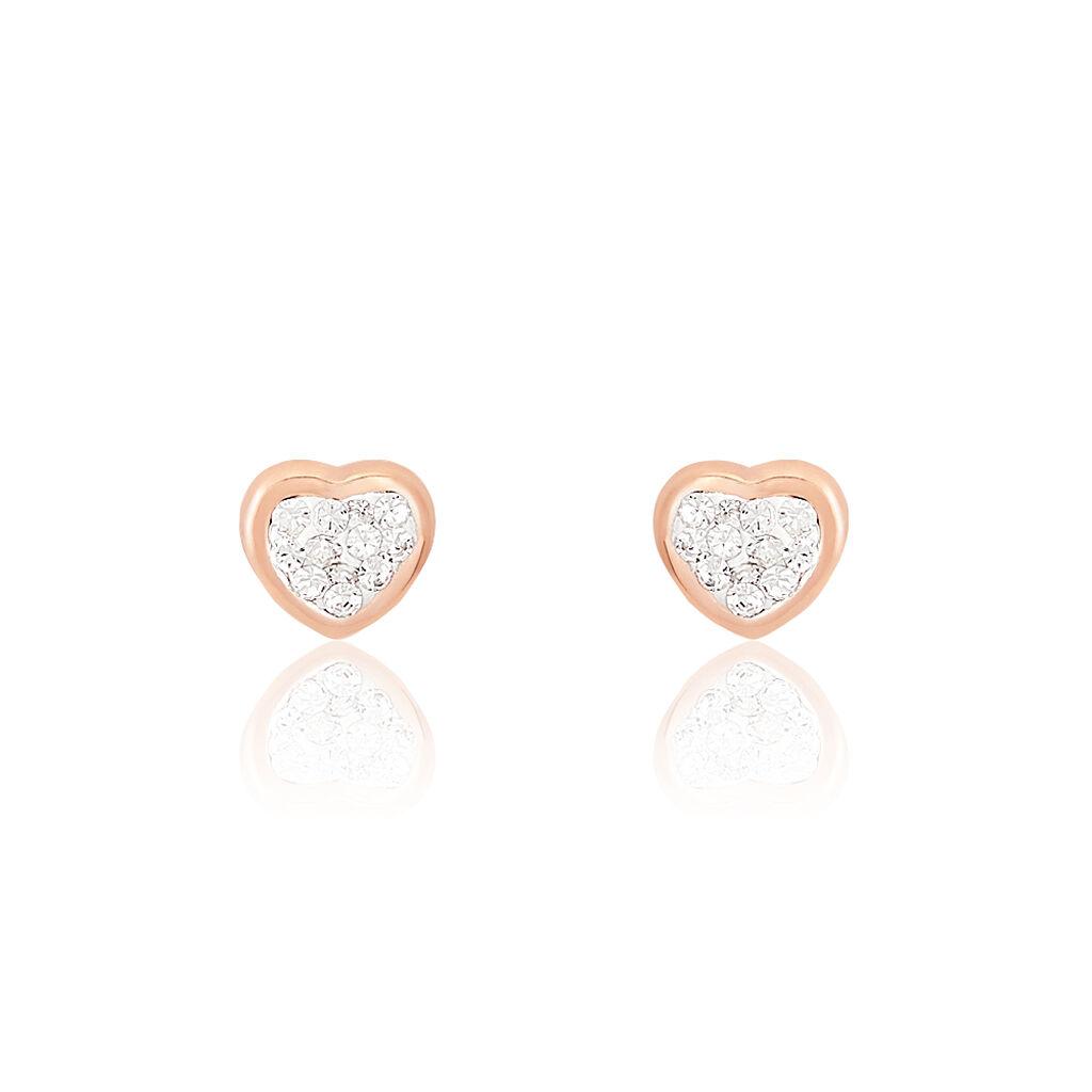 Boucles D'oreilles Puces Daria Cœur 0 Or Rose Strass - Boucles d'Oreilles Coeur Femme   Histoire d'Or