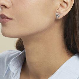 Boucles D'oreilles Puces Glorya Argent Blanc Oxyde De Zirconium - Boucles d'oreilles fantaisie Femme   Histoire d'Or