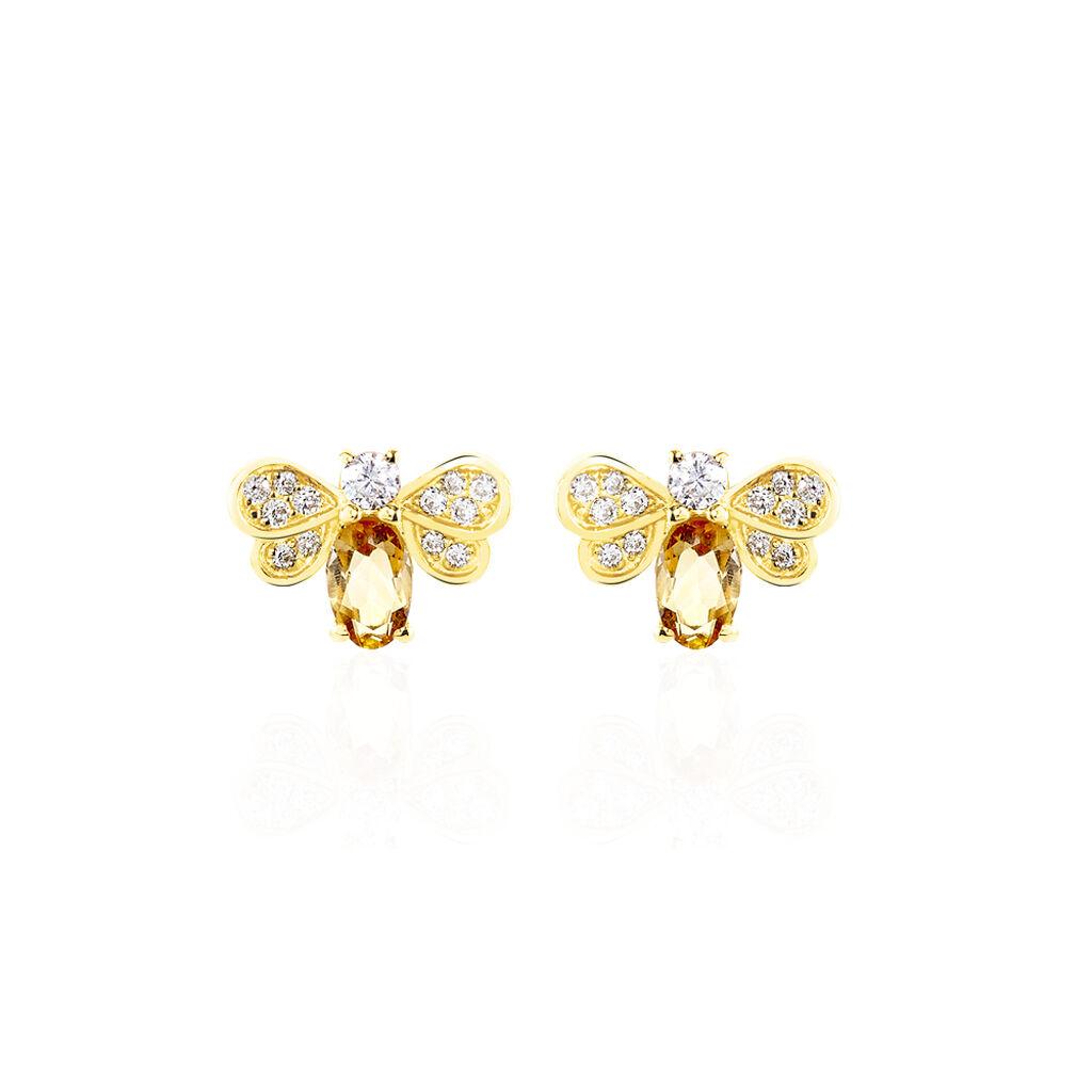 Boucles D'oreilles Puces Maela Or Jaune Citrine Et Oxyde De Zirconium - Clous d'oreilles Femme   Histoire d'Or