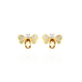 Boucles D'oreilles Puces Maela Or Jaune Citrine Et Oxyde De Zirconium - Clous d'oreilles Femme | Histoire d'Or