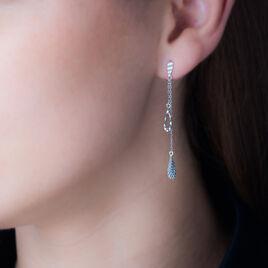 Boucles D'oreilles Pendantes Anila Gouttes Or Blanc - Boucles d'oreilles pendantes Femme   Histoire d'Or