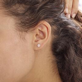 Boucles D'oreilles Puces Auxana Argent Rose Oxyde De Zirconium - Boucles d'oreilles fantaisie Femme | Histoire d'Or