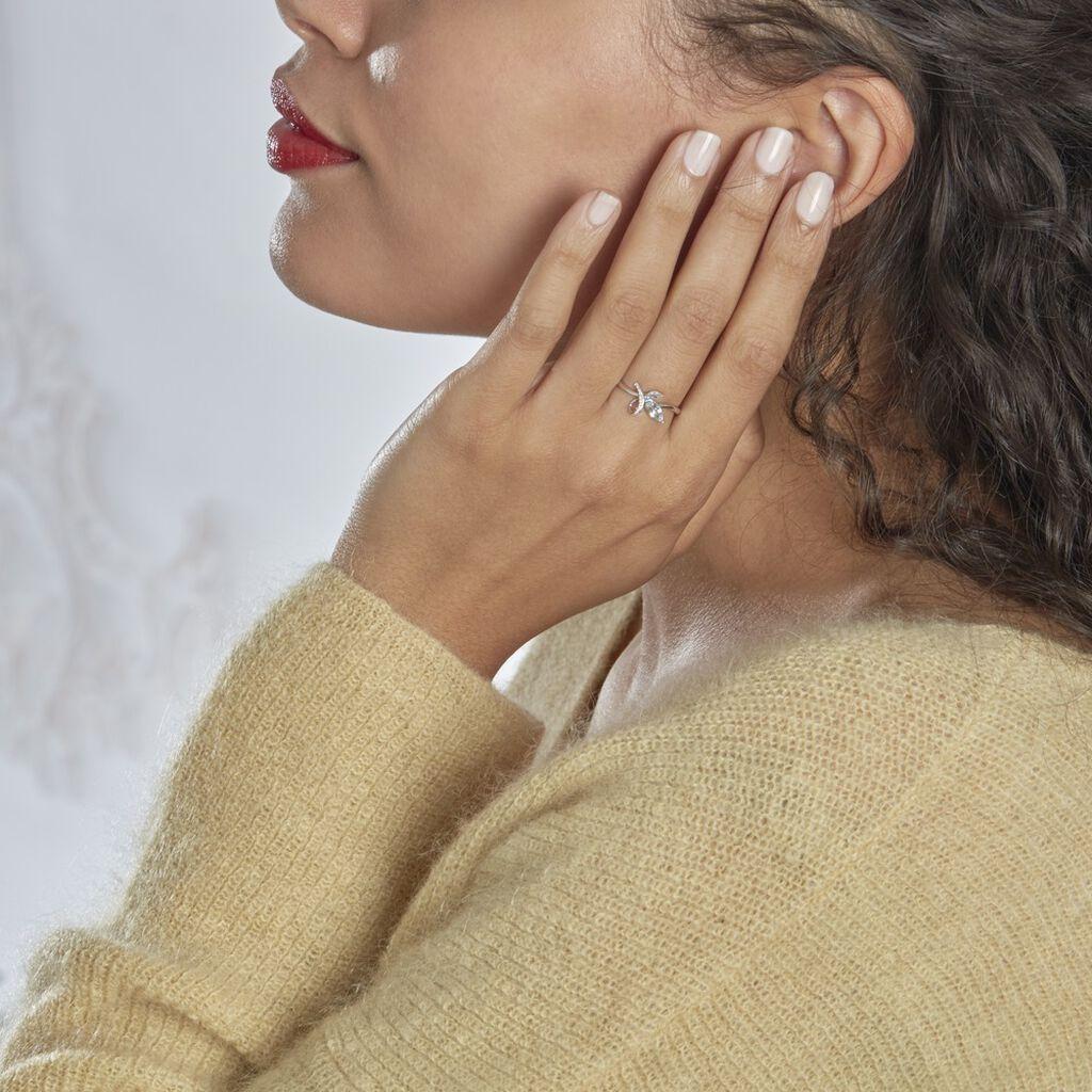 Bague Emmy Or Blanc Topaze Diamant - Bagues avec pierre Femme   Histoire d'Or