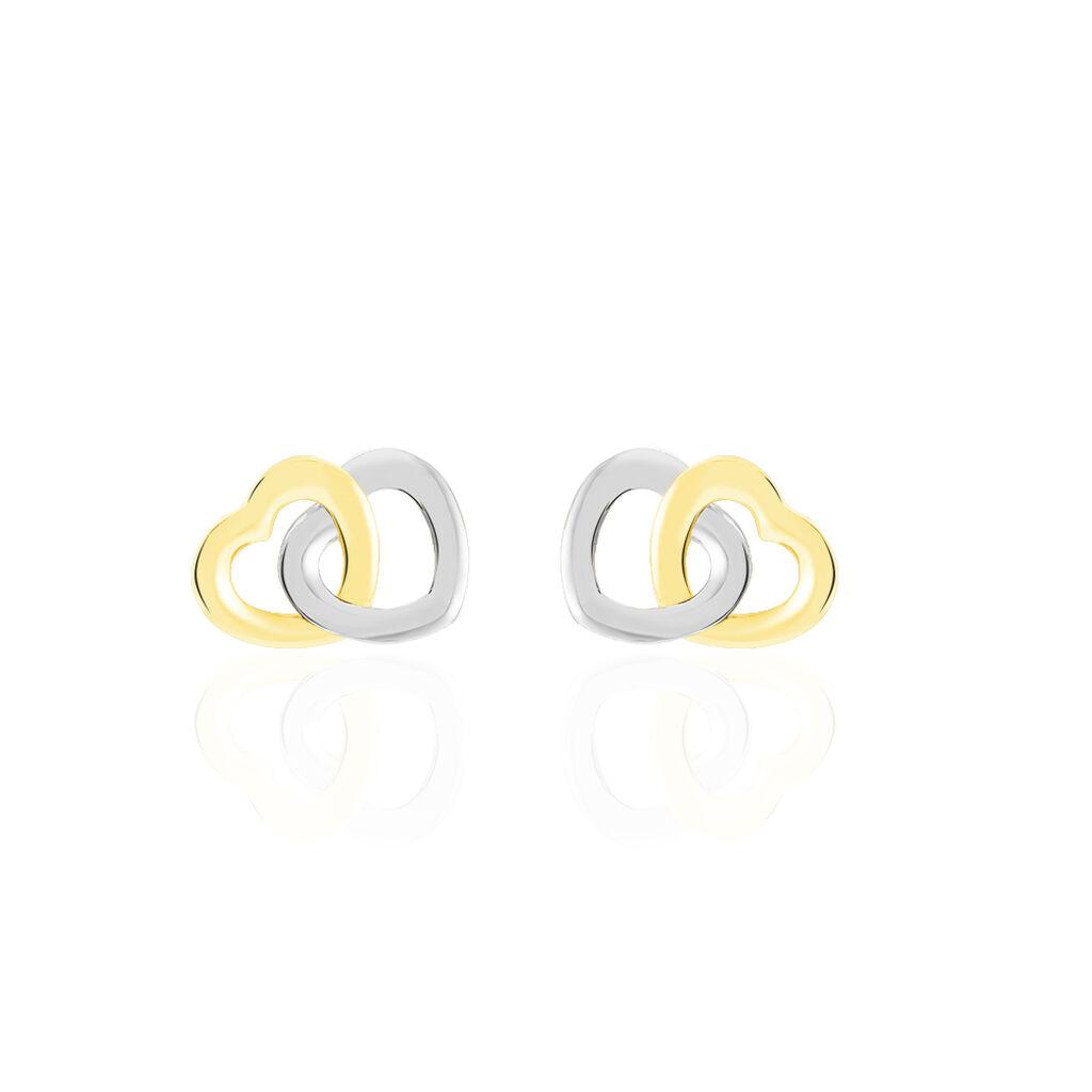 Boucles D'oreilles Puces Anne-maudae Double Coeurs Or Bicolore - Boucles d'Oreilles Coeur Femme | Histoire d'Or