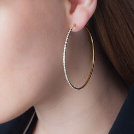 Créoles Collette Rondes Or Jaune Strass - Boucles d'oreilles créoles Femme   Histoire d'Or