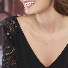 Collier Valeriana Or Blanc Oxyde De Zirconium - Colliers Coeur Femme   Histoire d'Or