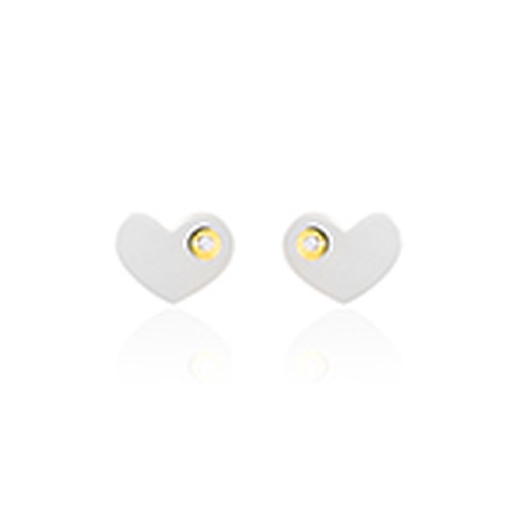 Boucles D'oreilles Puces Or Jaune Nacre Et Oxyde De Zirconium - Boucles d'Oreilles Coeur Femme   Histoire d'Or