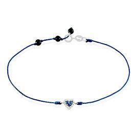 Bracelet Marie-manuelle Or Blanc Saphir Et Diamant - Bracelets Coeur Femme   Histoire d'Or