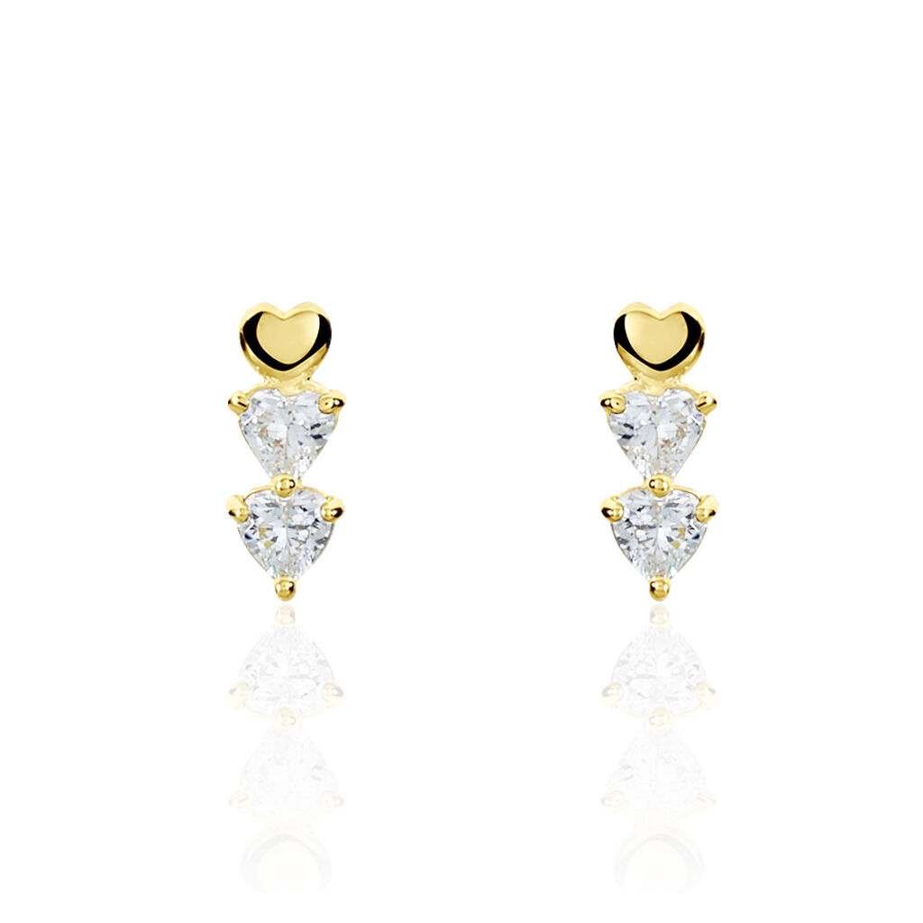Boucles D'oreilles Pendantes Cameron Or Jaune Oxyde De Zirconium - Boucles d'Oreilles Coeur Femme | Histoire d'Or
