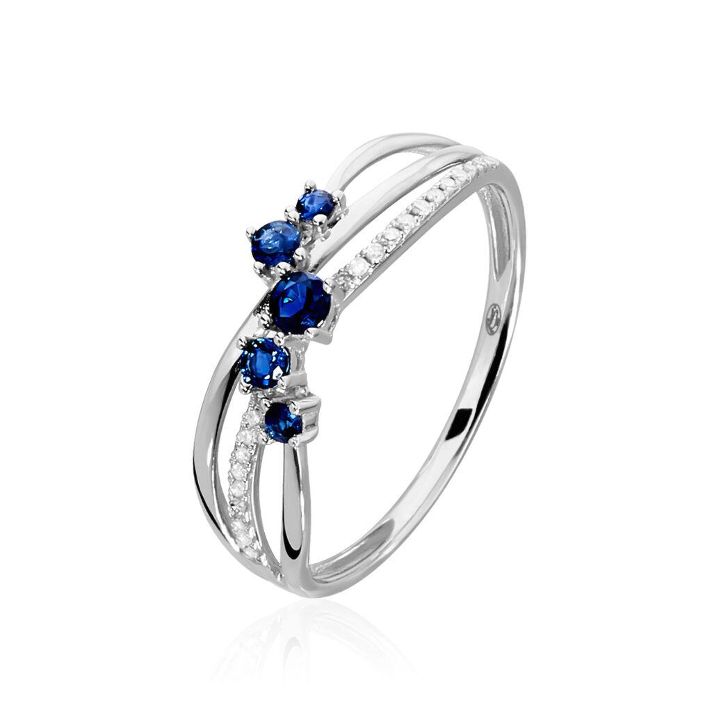 Bague Amarylis Or Blanc Saphir Diamant - Bagues avec pierre Femme   Histoire d'Or