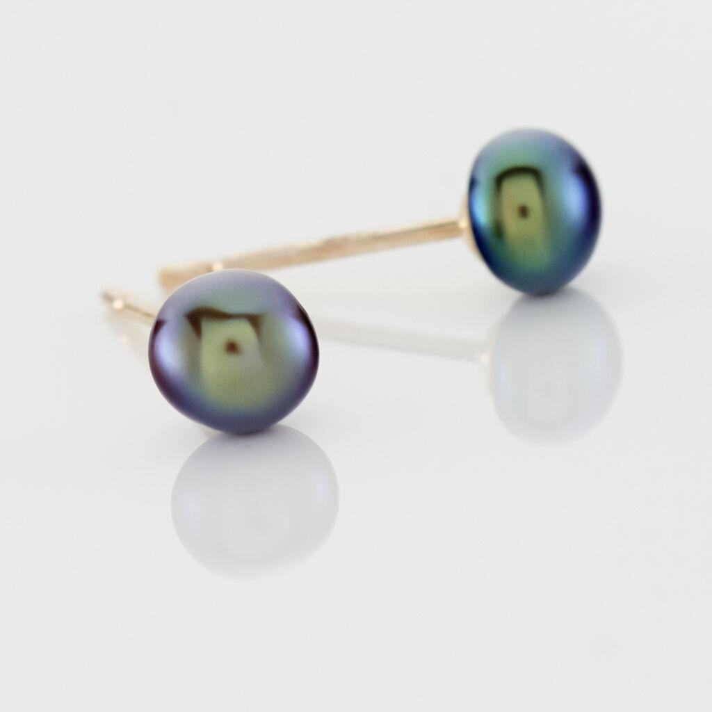 Boucles D'oreilles Puces Micaelle Teintees Or Jaune Perle De Culture - Clous d'oreilles Femme   Histoire d'Or