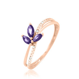 Bague Maura Or Rose Amethyste Et Diamant - Bagues avec pierre Femme   Histoire d'Or