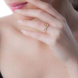 Bague Plaque Or Merane Forme Huit Oxyde - Bagues avec pierre Femme   Histoire d'Or