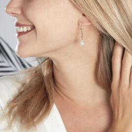 Boucles D'oreilles Pendantes Soalie Plaque Or Jaune Perle D'imitation - Boucles d'oreilles fantaisie Femme   Histoire d'Or