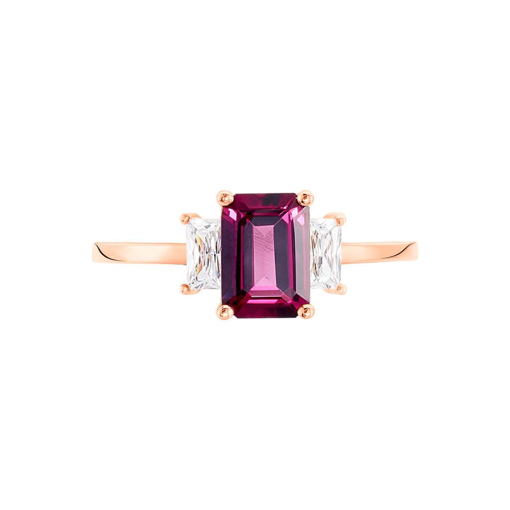 Bague Petronelle Or Rose Rhodolite Et Oxyde De Zirconium - Bagues avec pierre Femme | Histoire d'Or