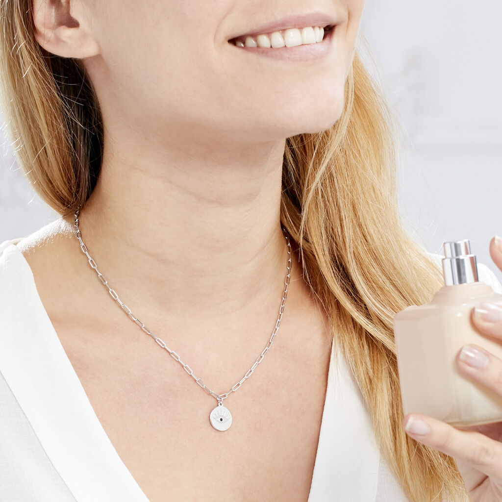 Collier Angelyna Argent Blanc Oxyde De Zirconium - Colliers fantaisie Femme   Histoire d'Or