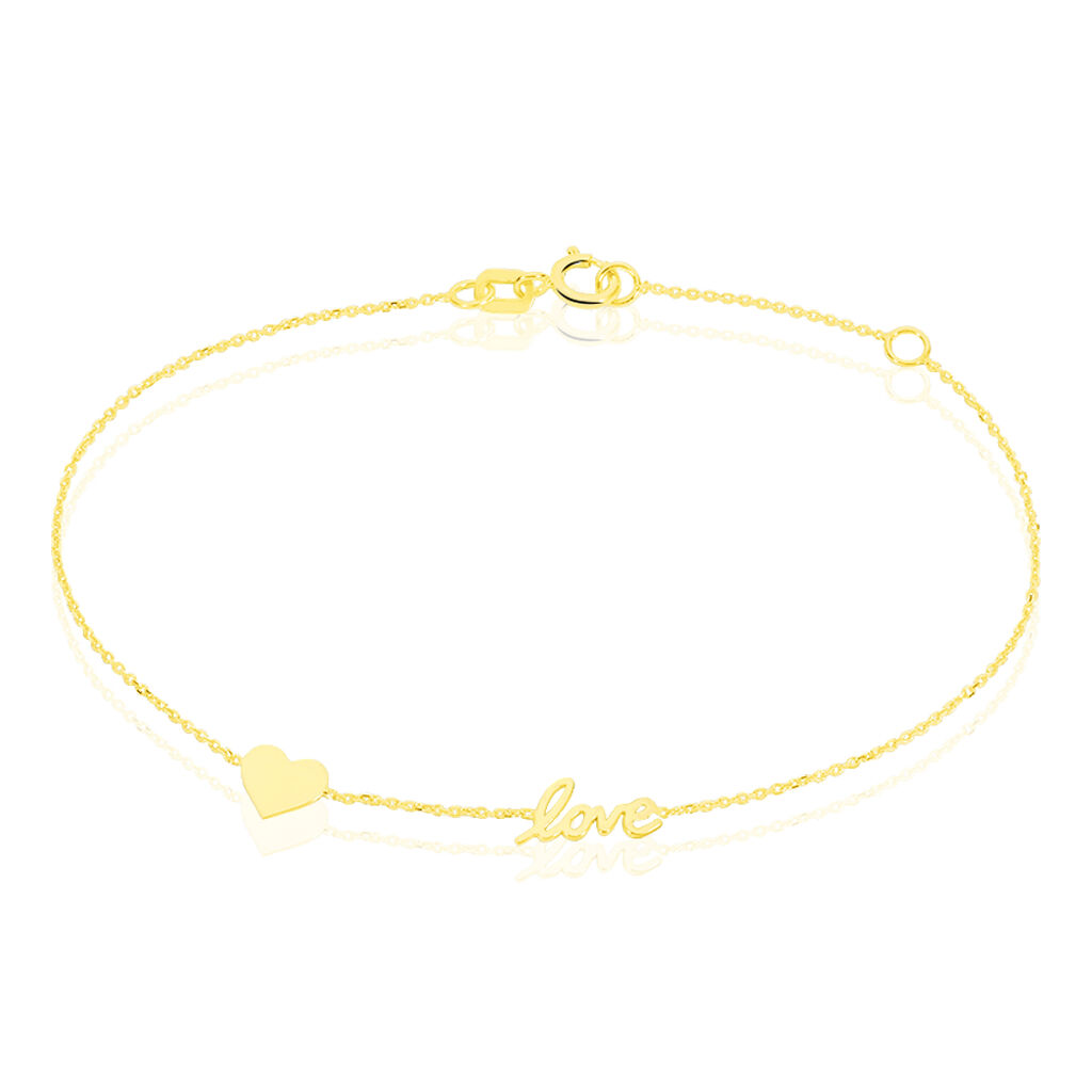 Bracelet Arya Message Or Jaune - Bracelets Coeur Femme   Histoire d'Or