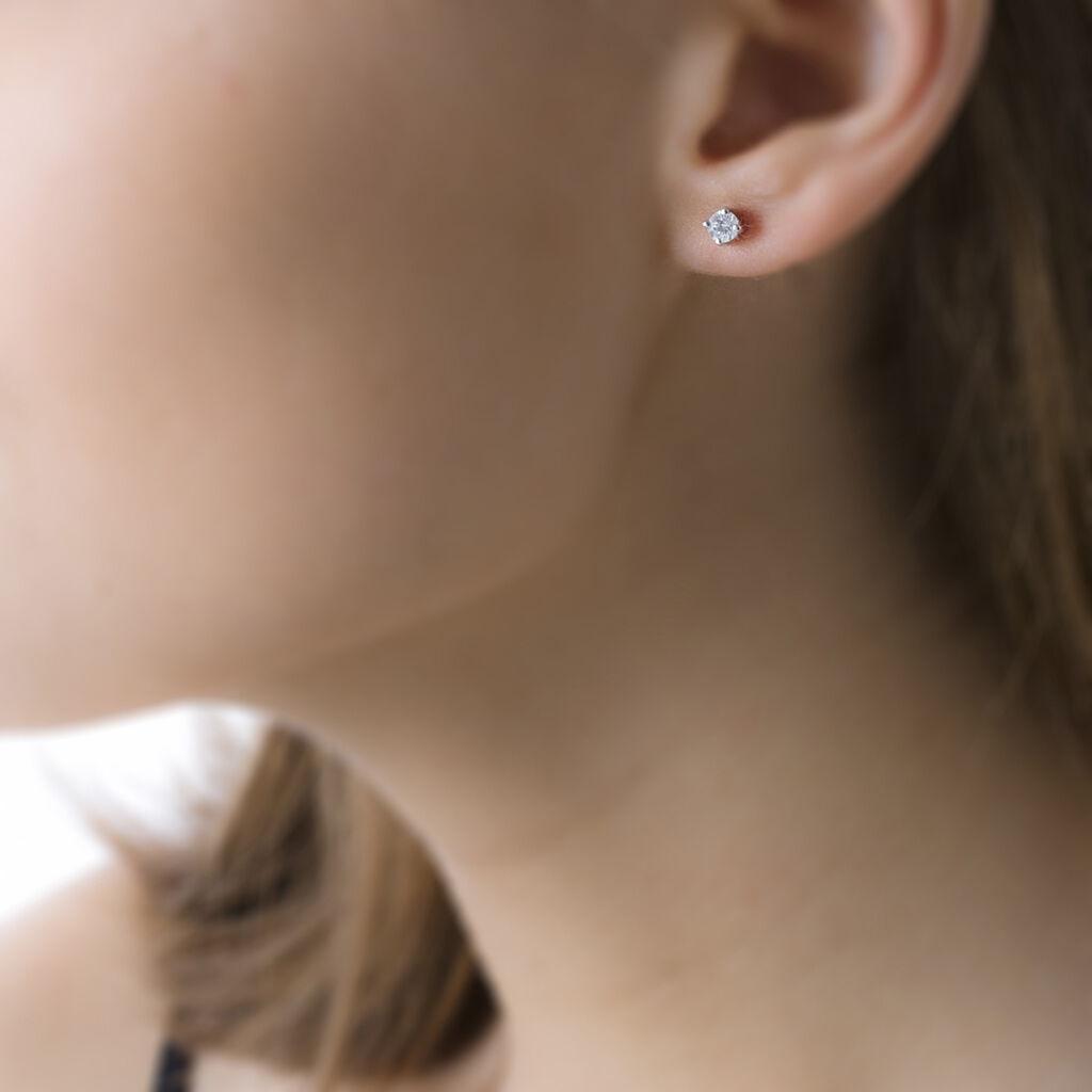 Boucles D'oreilles Puces Clavie Or Blanc Diamant - Clous d'oreilles Femme | Histoire d'Or