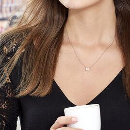 Collier Argent Rose Anne-lise Oxyde De Zirconium - Colliers Papillon Femme | Histoire d'Or