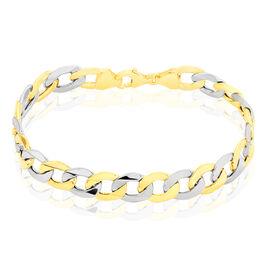 Bracelet Iris Maille Gourmette Or Bicolore - Bracelets chaîne Homme   Histoire d'Or