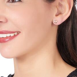Boucles D'oreilles Or Rose Diamant Lizia - Boucles d'Oreilles Coeur Femme   Histoire d'Or