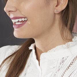 Boucles D'oreilles Puces Birati Argent Rose - Boucles d'oreilles fantaisie Femme | Histoire d'Or