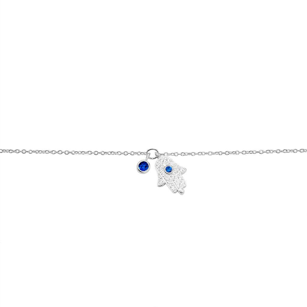 Bracelet Symbolique Argent Blanc Oxyde De Zirconium - Bracelets Main de Fatma Femme | Histoire d'Or