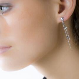 Boucles D'oreilles Pendantes Sheryn Argent Blanc - Boucles d'oreilles fantaisie Femme | Histoire d'Or