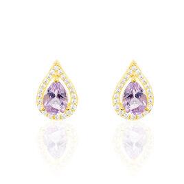 Boucles D'oreilles Pendantes Anoushka Or Jaune Amethyste Et Oxyde - Boucles d'oreilles pendantes Femme | Histoire d'Or