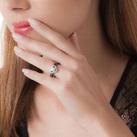 Bague Argent Gris Céramique Et Oxyde De Zirconium Et Perle De Culture - Bagues avec pierre Femme | Histoire d'Or