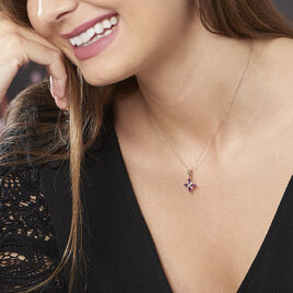 Collier Anabele Or Rose Amethyste Et Oxyde De Zirconium - Bijoux Femme | Histoire d'Or
