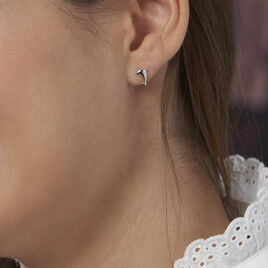 Boucles D'oreilles Puces Dauphinos Argent Blanc - Boucles d'oreilles fantaisie Femme | Histoire d'Or