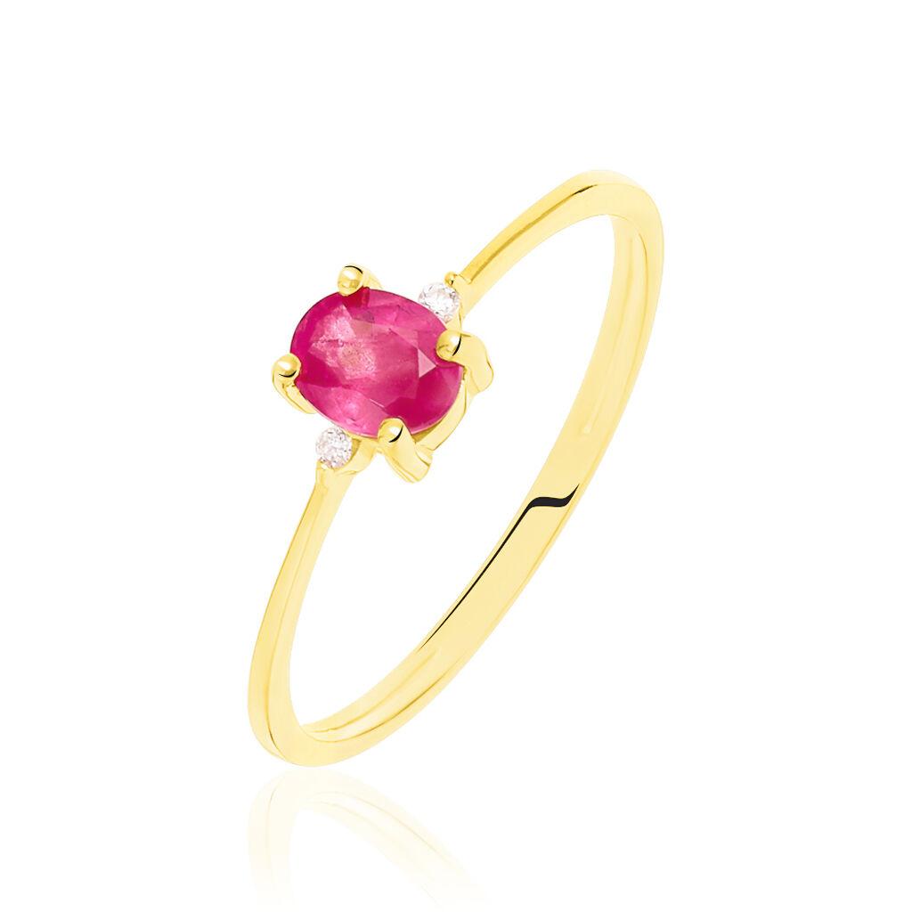 Bague Janah Or Jaune Rubis Et Diamant - Bagues solitaires Femme   Histoire d'Or